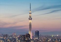 چراغانی برج اسکای تری در توکیو با روزشمار توکیو2020