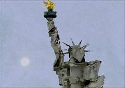 مجسمهای شبیه مجسمه آزادی آمریکا که توسط تمّام عَظّام، هنرمند اهل سوریه از خرابههای ناشی از جنگ کشورش ساخته شده است